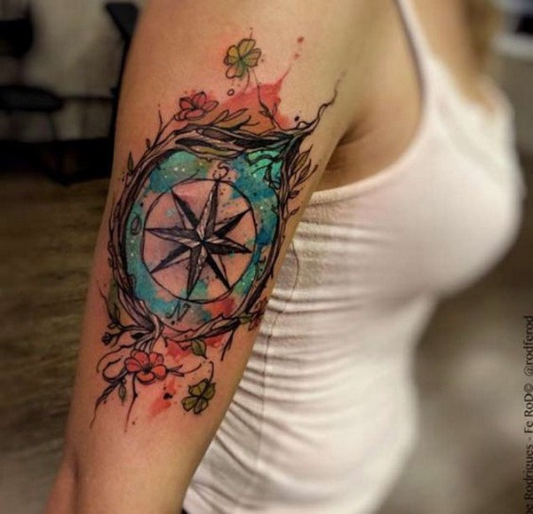10-compass-tattoo-designs
