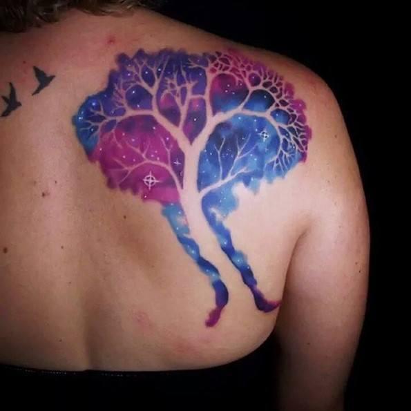 colorfull-tree-tattoo-on-back