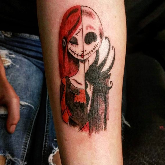 nightmare-before-christmas-jack-and-sally-tattoos-designs