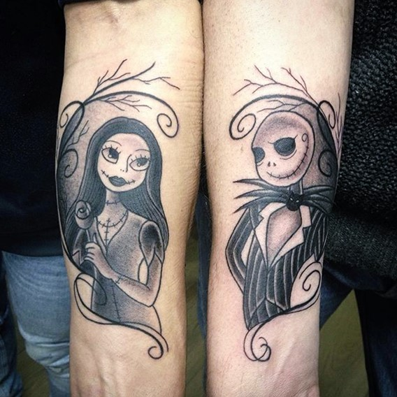 simple-nightmare-before-christmas-couple-tattoos