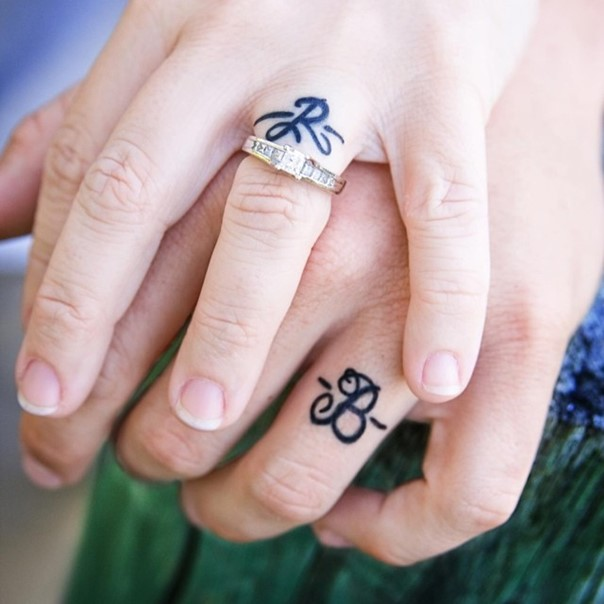 wedding-band-tattoo-with-initials