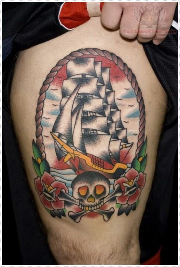best-ship-tattoo-on-bicep