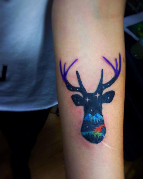 colorful-stag-tattoo