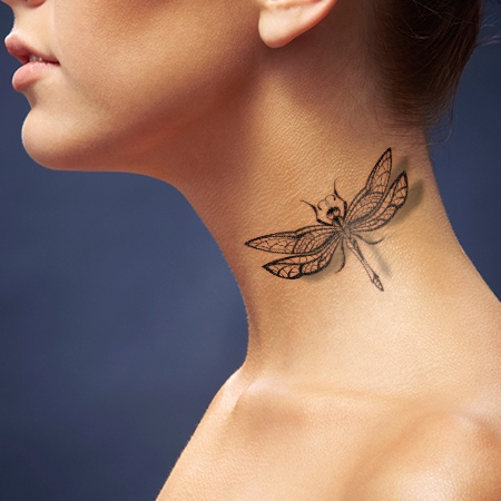 lace-dragonfly-tattoo-on-neck