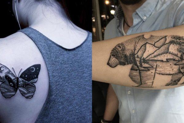 tatuaggi animali e paesaggi