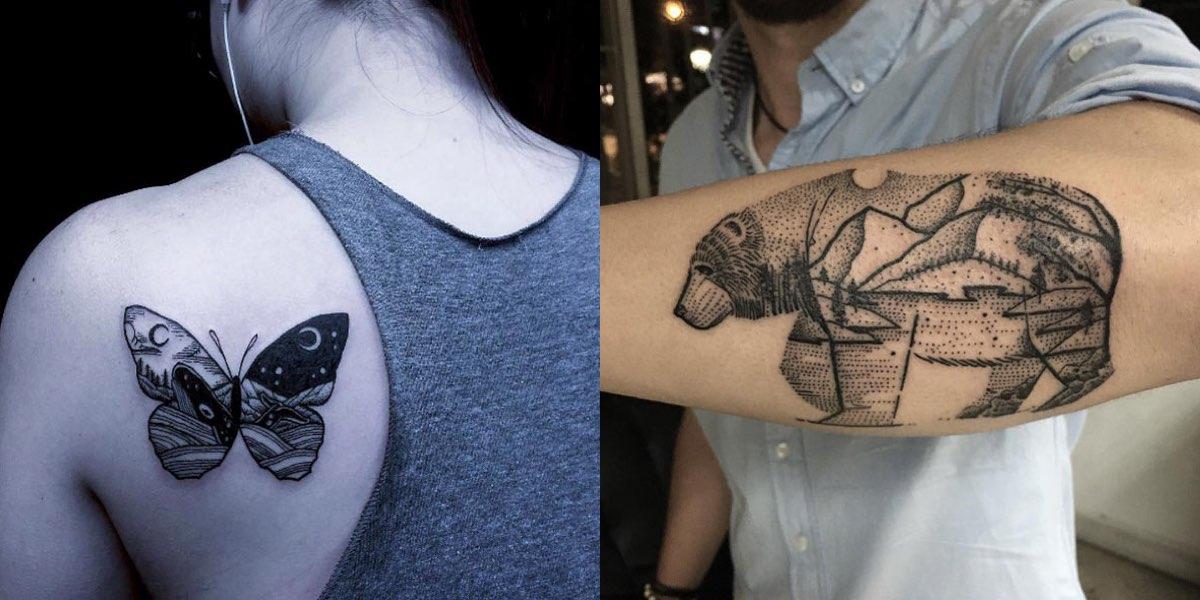 30 meravigliosi tatuaggi di animali e paesaggi