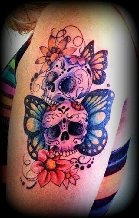 tatuaggio teschio messicano simpatico e pieno di simbologia