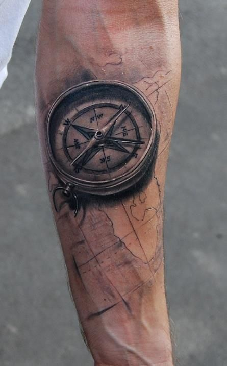 3d-compass-forearm-tattoo