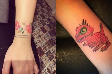 tatuaggi effetto cucito