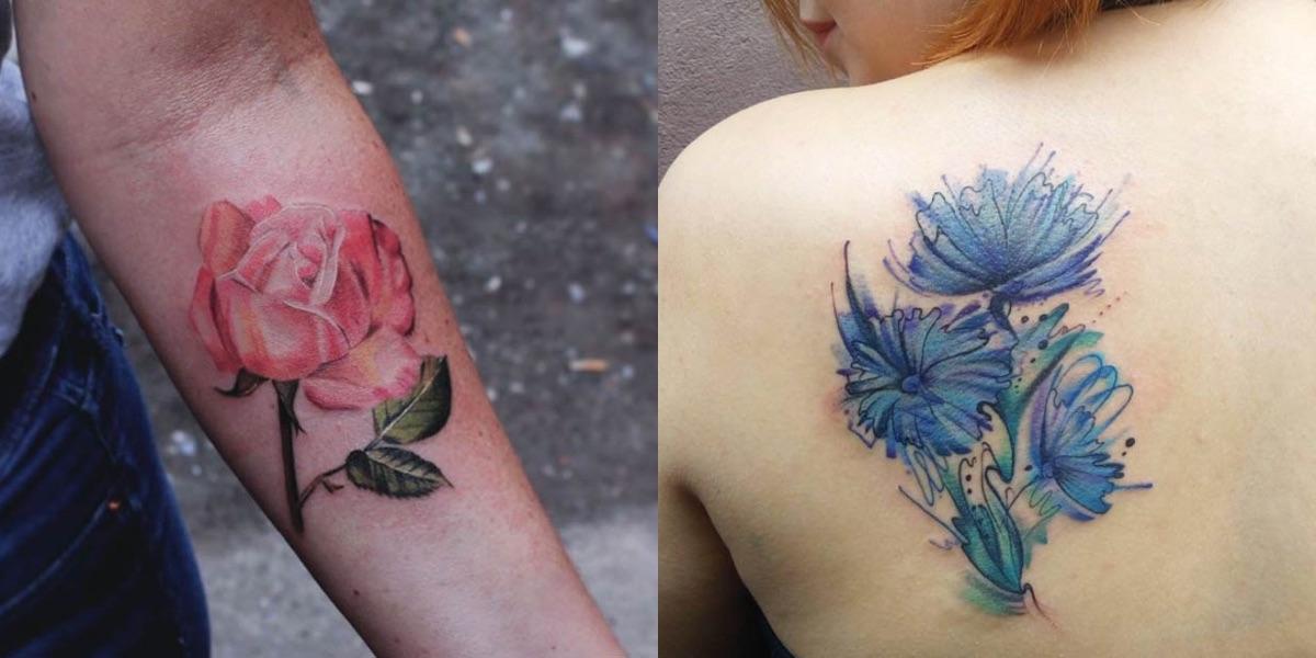 Fiori Tatuati.35 Tatuaggi Floreali Con Lo Stile Acquerello